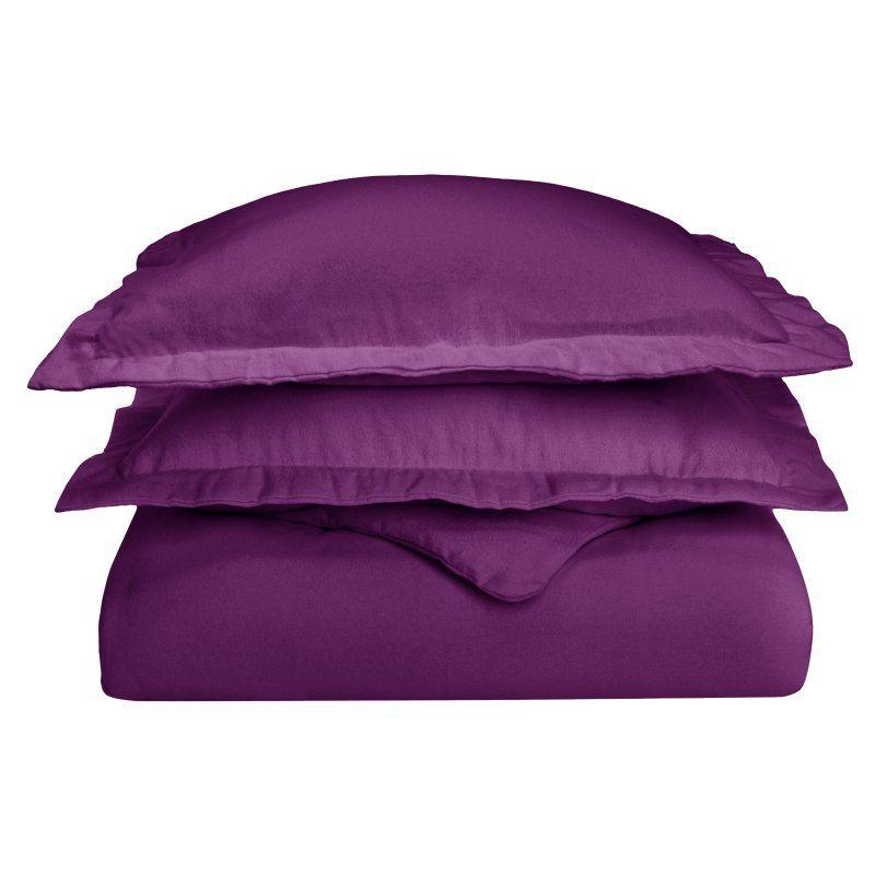 Cotton Flannel Solid Duvet Cover Set by Superior Purple - FLAKCDC SLPR