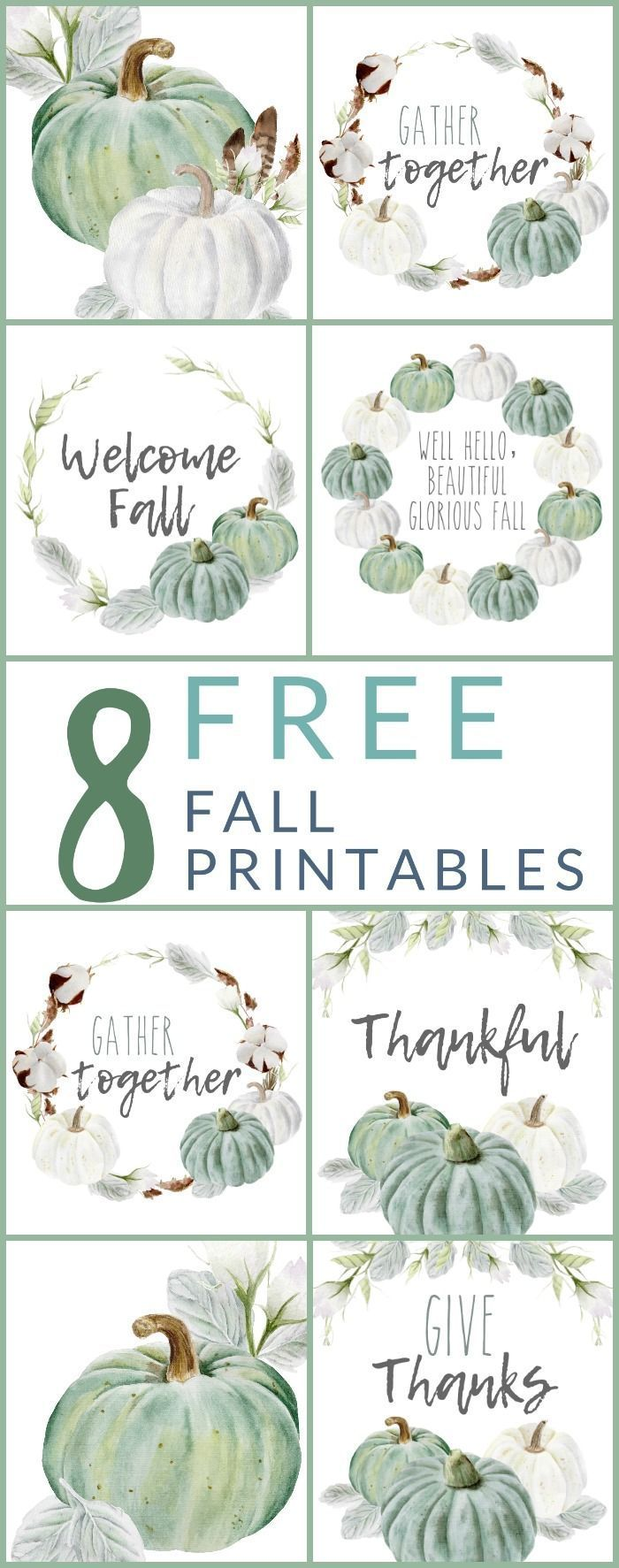 8 FREE - Neutral Farmhouse Style Fall Printables #holidaydecor