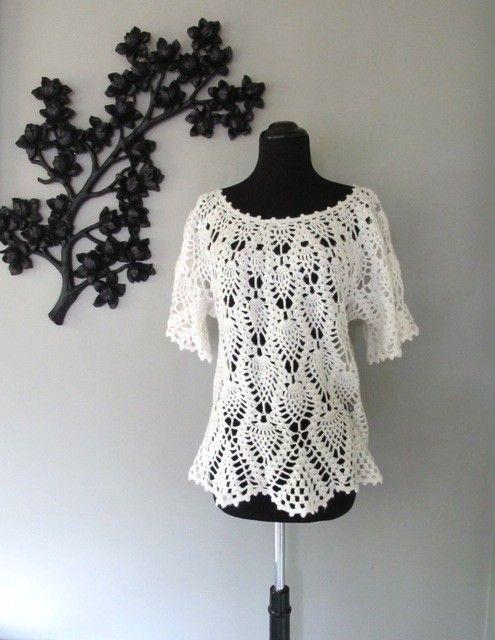 delicate COTTON BLOOM crochet sweater blouse - size L | Flor de ...