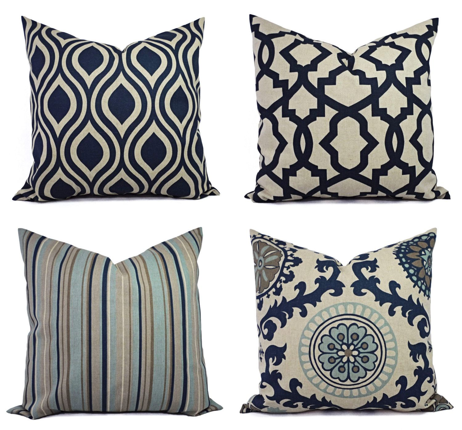 Decorative Pillow Blue and Beige