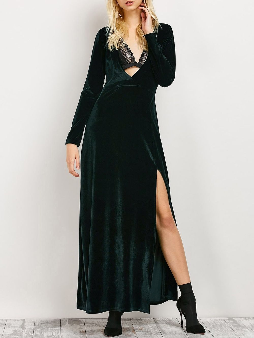 Long sleeve low cut slit maxi evening dress gothic