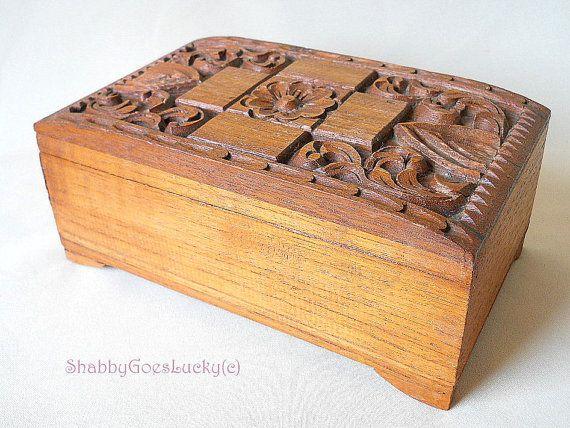 German vintage hand carved wooden keepsake box, jewellery or letter