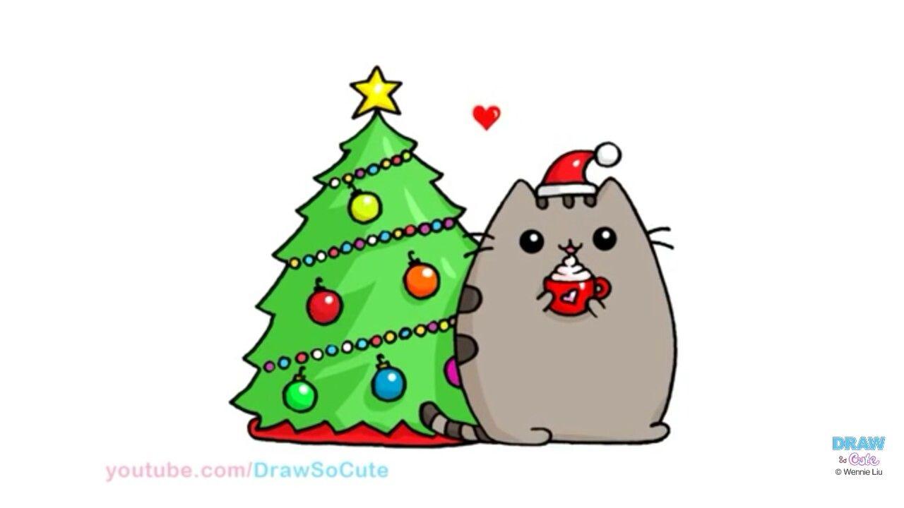 Miau Navidad Dulce Miau Navidad Miau Cute Drawings Kawaii Drawings Christmas Pusheen Cat