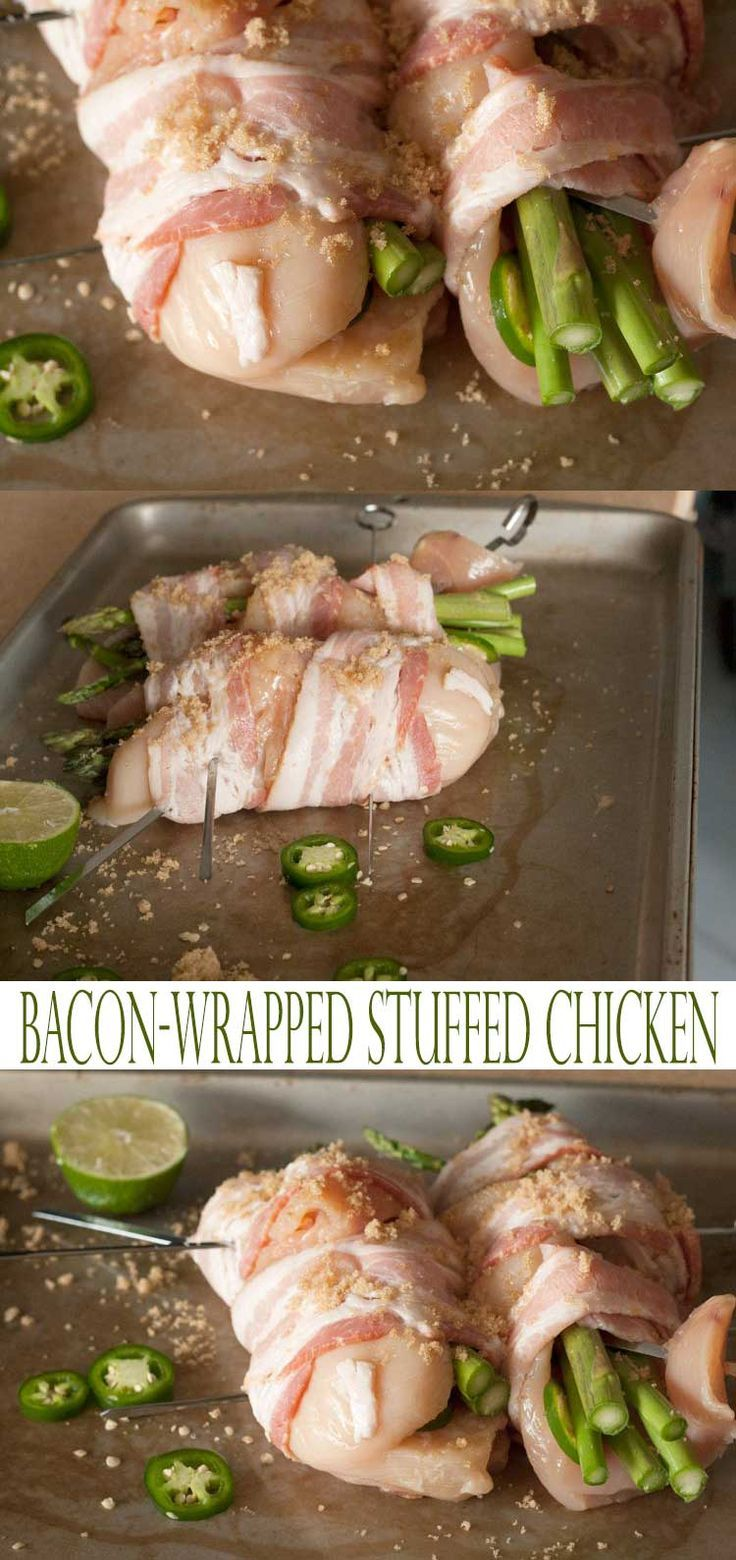 Grilled bacon wrapped stuffed chicken breast