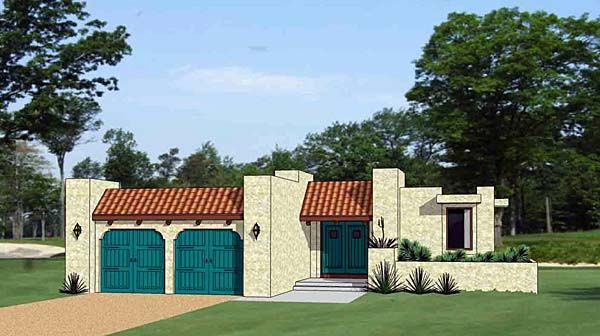 Southwest Style House Plan with 3 Bed 3 Bath 2 Car Garage