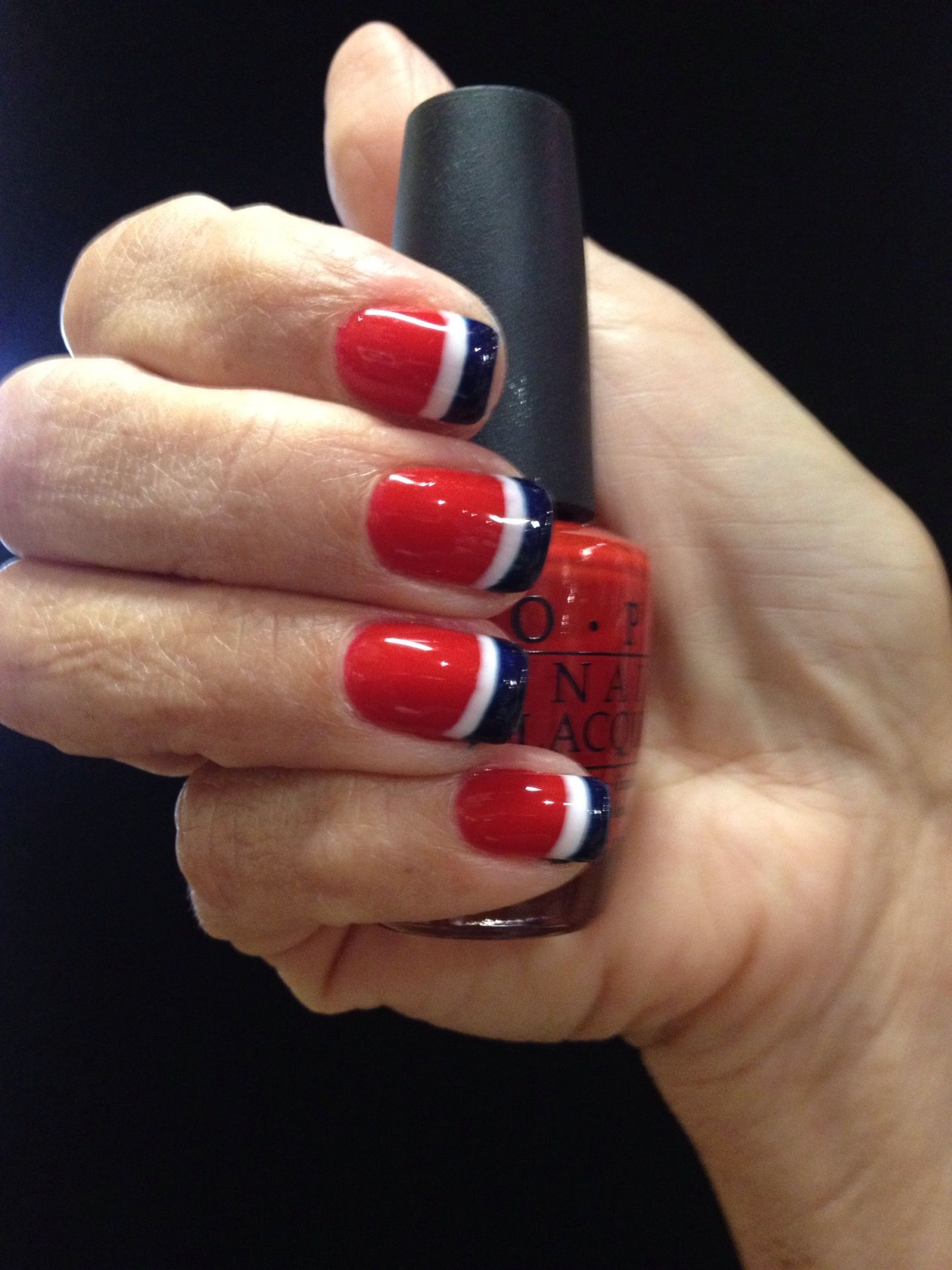 Red, White & Blue French Manicure with OPI Gelcolor!!!! | Nail ...