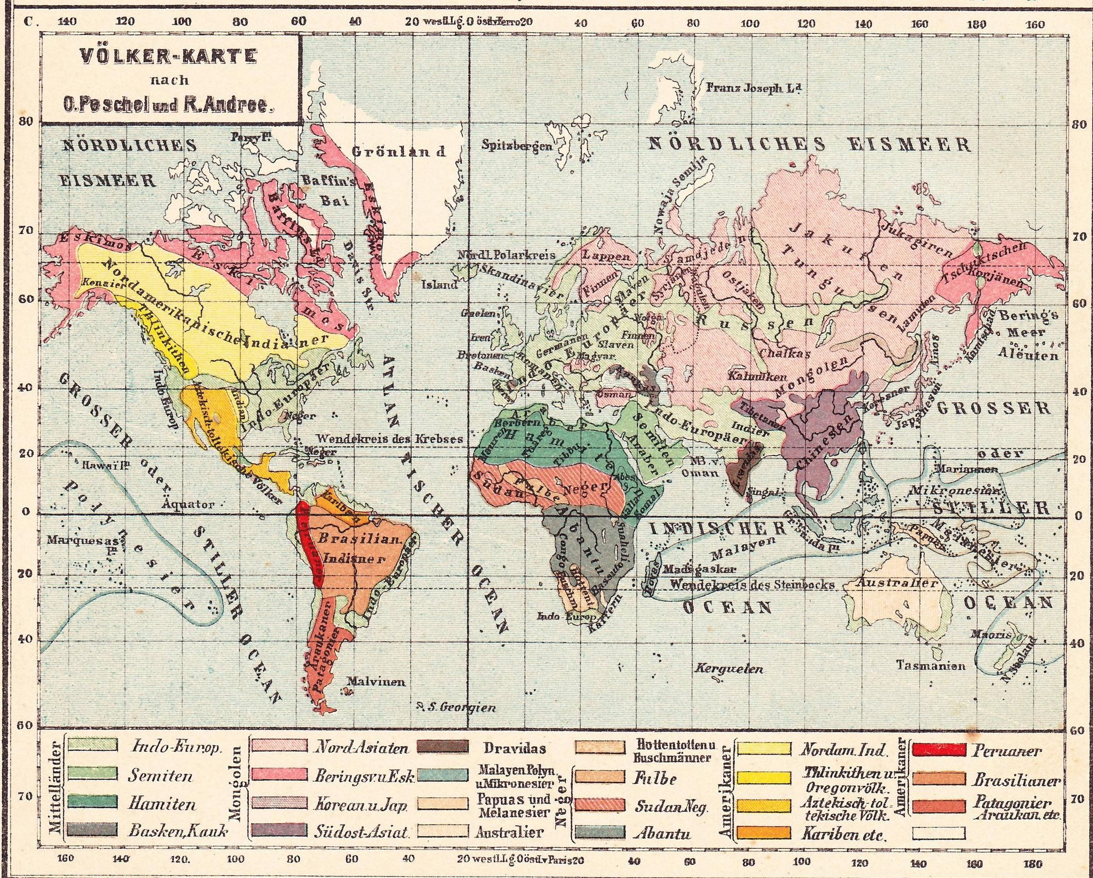 Races according to Trampler\'s atlas (1900) | MAPS | Pinterest