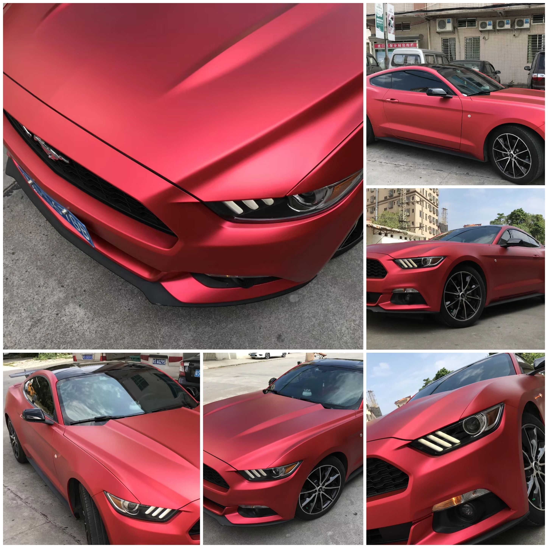 Ford Mustang New Red Color Vinyl Wrap Car Car Wrap Car Paint Colors