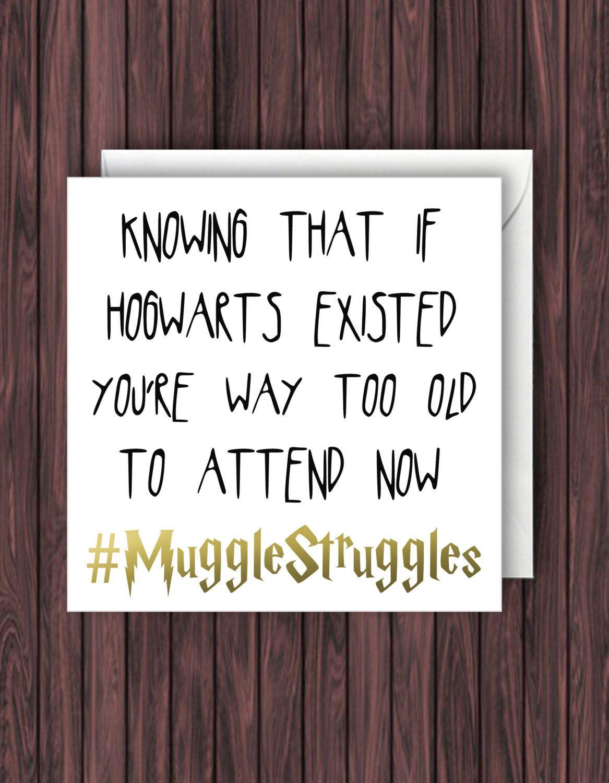Hashtag Muggle Struggles Funny Harry Potter Birthday Card Geek Blank Card Greeting Harry Potter Birthday Cards Harry Potter Birthday Harry Potter Jk Rowling
