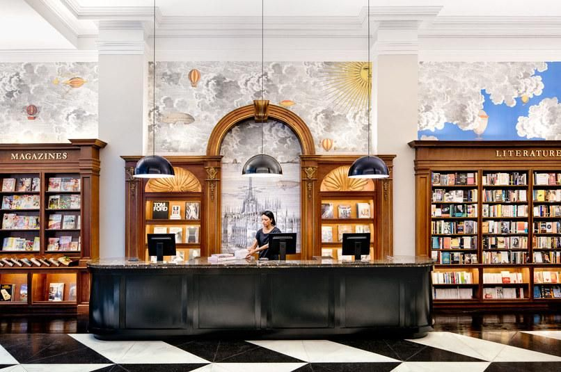 Tour The New Rizzoli Flagship In New York City Architectural Digest Fornasetti Wallpaper Interior