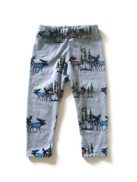 Moose print baby leggings