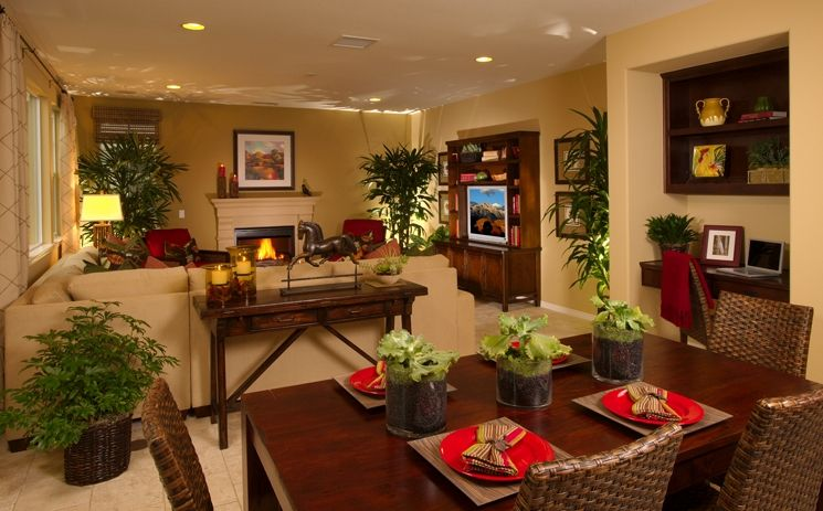 Layout idea to separate living room / dining room combo space. Note the accent lighting and use of plants. : living-room-dining-room-design - designwebi.com