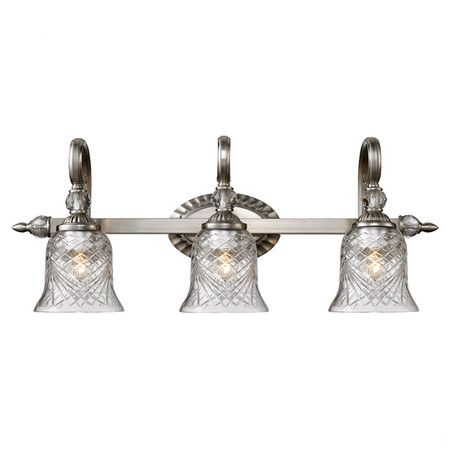 Scrolling 3 bulb vanity light with a pewter finish and hand cut scrolling 3 bulb vanity light with a pewter finish and hand cut crystal glass mozeypictures Image collections