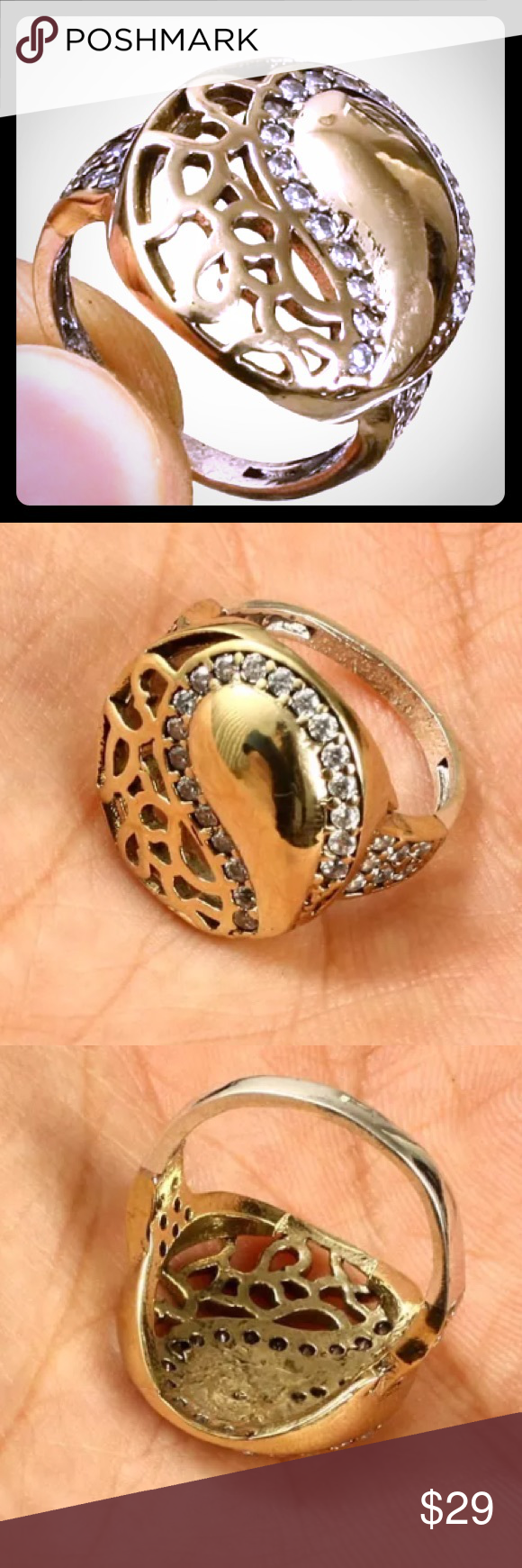 """WHITE TOPAZ & 925K STERLING SILVER•BRONZE WHITE TOPAZ•925K Sterling Silver and Bronze.  This Ring is 7.05 grams ••• Head size is 0.76"""". Ring Size is 8 It has the 925 stamp. Is made in EUROPE with high quality workmanship! Jewelry Rings"""