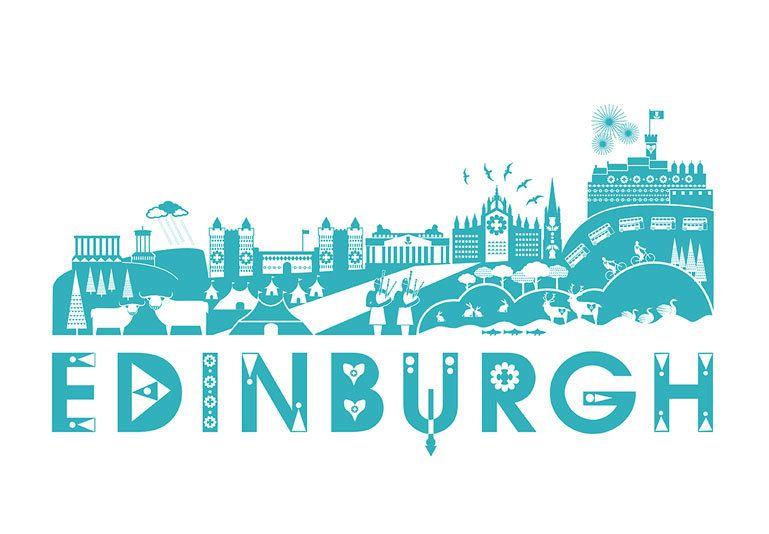 Edinburgh Skyline Print 35 00 Via Etsy Edinburgh Screen Printing Skyline