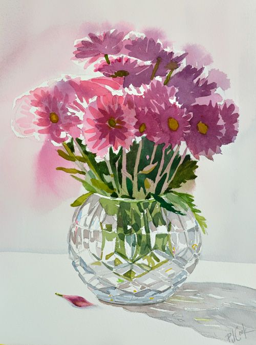 Crystal Vase With Flowers In 2020 Flowers In Vase Painting