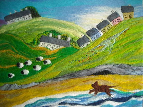 Felt Painting; Landscape with Sheep and Dog by Sue Forey fibre art, £82.67