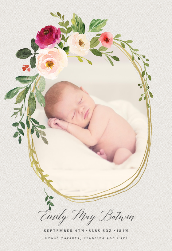 Yellow Baby Girl Birth Announcement Baby Announcement Card Personalized Printable Photo Announcement Template Photo Birth Announcement