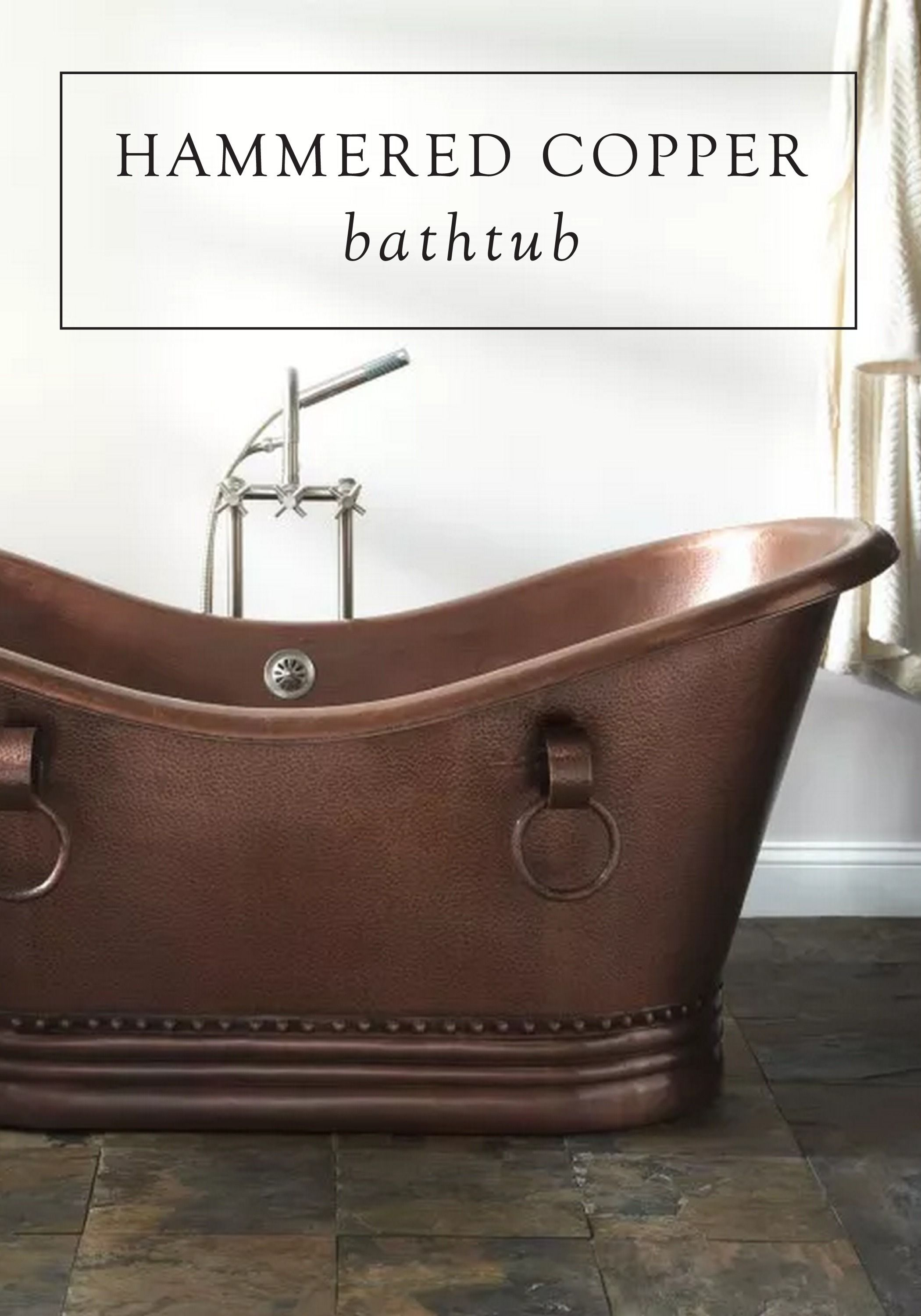 Inspiration for your bathroom remodel starts with this hammered copper bathtub as the perfect focal piece