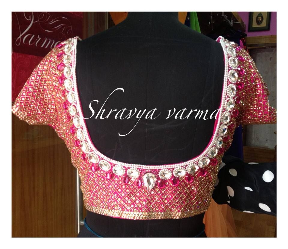 Lehenga blouse design in golden color and mirror work - Shravya Varma Blouse Mirror Work Blouseblouse Patternsblouse Designssaree Blousemirrors
