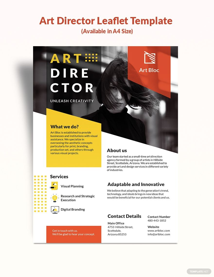 Art Director Leaflet Template in 2020 Leaflet template