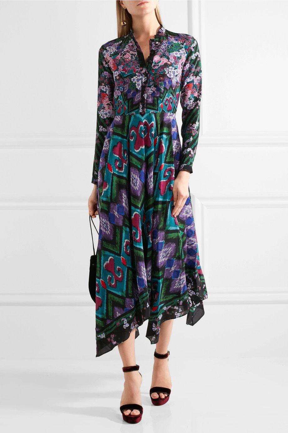 Saloni | Cerise asymmetric printed silk-crepe maxi dress | NET-A-PORTER.COM