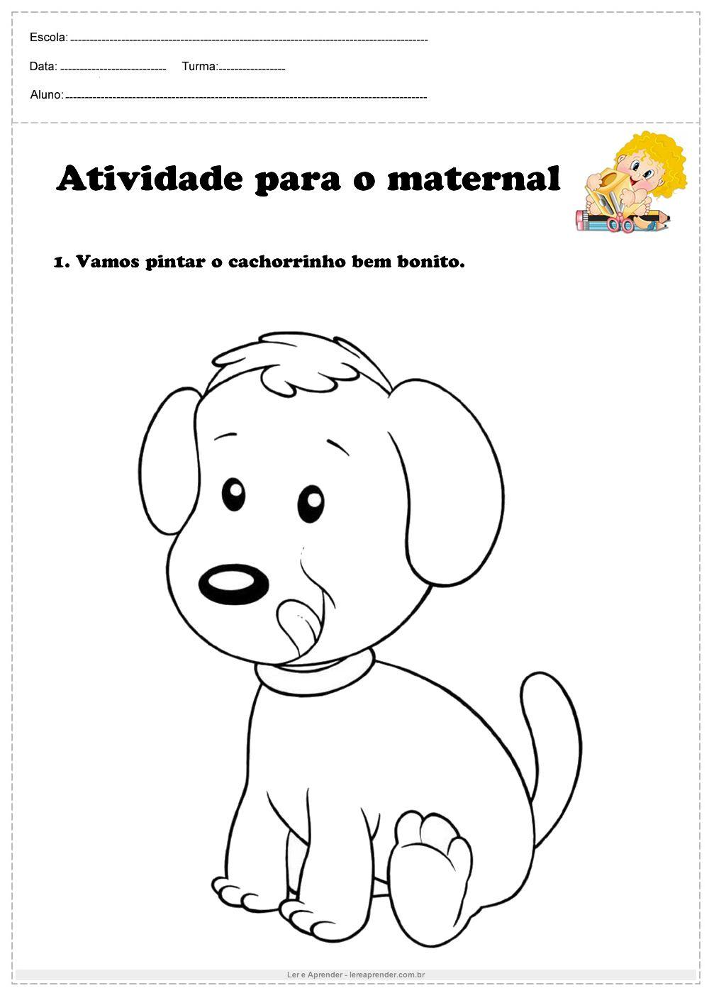 Atividade Para O Maternal Vamos Pintar O Cachorrinho Bem Bonito