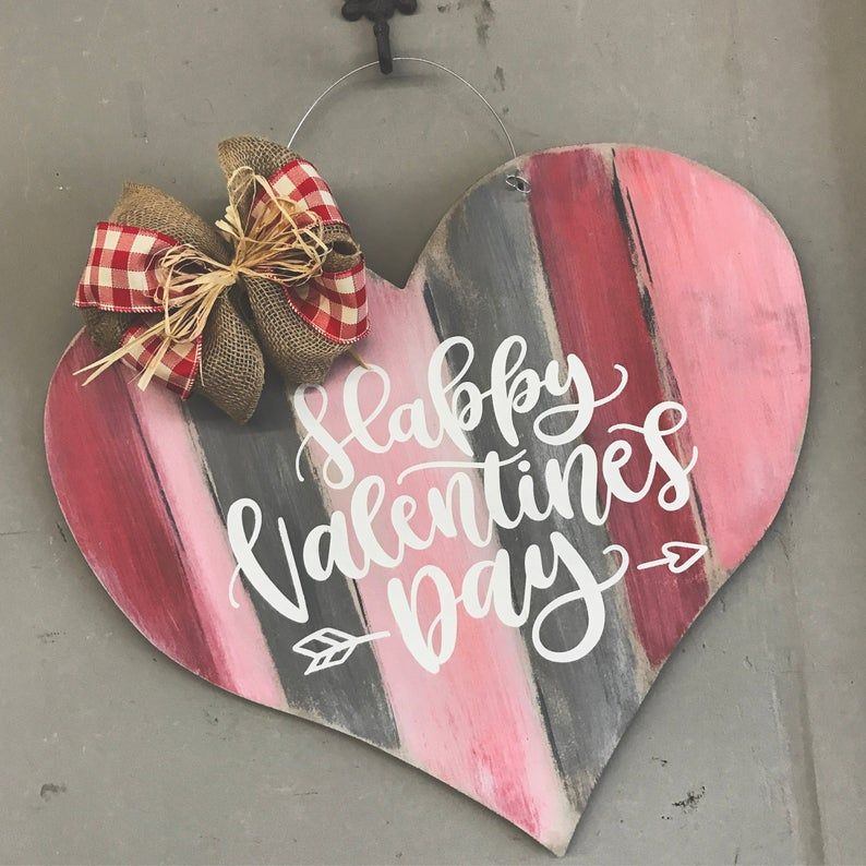 Valentine's Day Door Hanger - Wooden Heart Door Hanger - Heart Shaped Door Sign