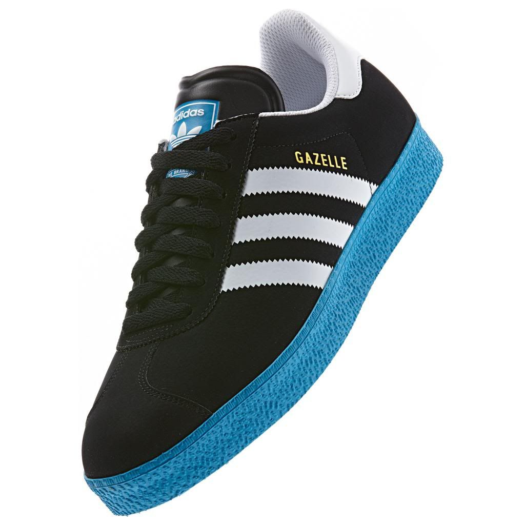 Adidas Originals Gazelle II 2.0 D65444 Black/White/Blue 3D Printed Stripes  Shoes