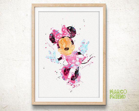 Minnie Logo Watercolor Print Nursery Wall Decor Disney For Kids  Mickey Mouse