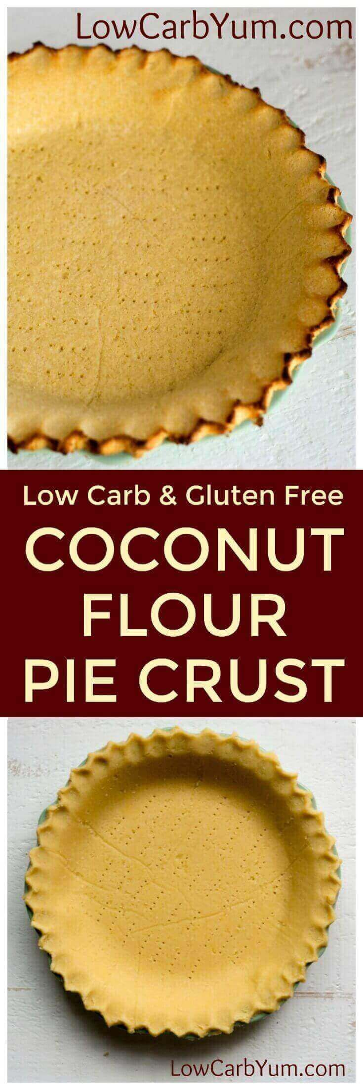 Want the perfect low carb pie crust that isn't made with almond flour? Give this simple coconut flour pie crust a try for both sweet and savory pies. | http://LowCarbYum.com