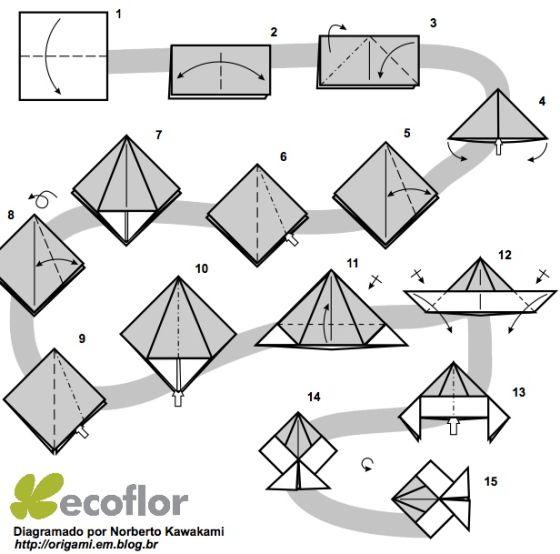 Passo A Passo Diagramas De Origami Marcadores