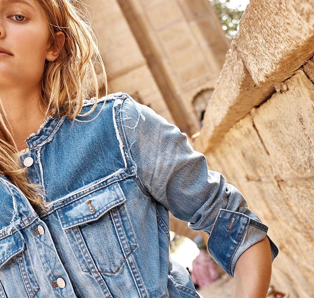 Madewell Spring 2017 Lookbook Collarless Denim Jacket Minimal Fashion Style Woman Madewell [ 950 x 1000 Pixel ]