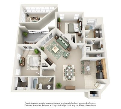 Two Bedroom Apartments Floor Plans 3d   Google Search