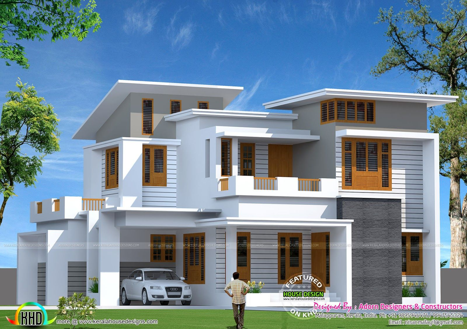 Good Contemporary Home Designs At Malappuram Part - 2: Square Feet Slanting Roof Mix Home Kerala Home Design Floor Sq Feet Flat  Roof Contemporary Home