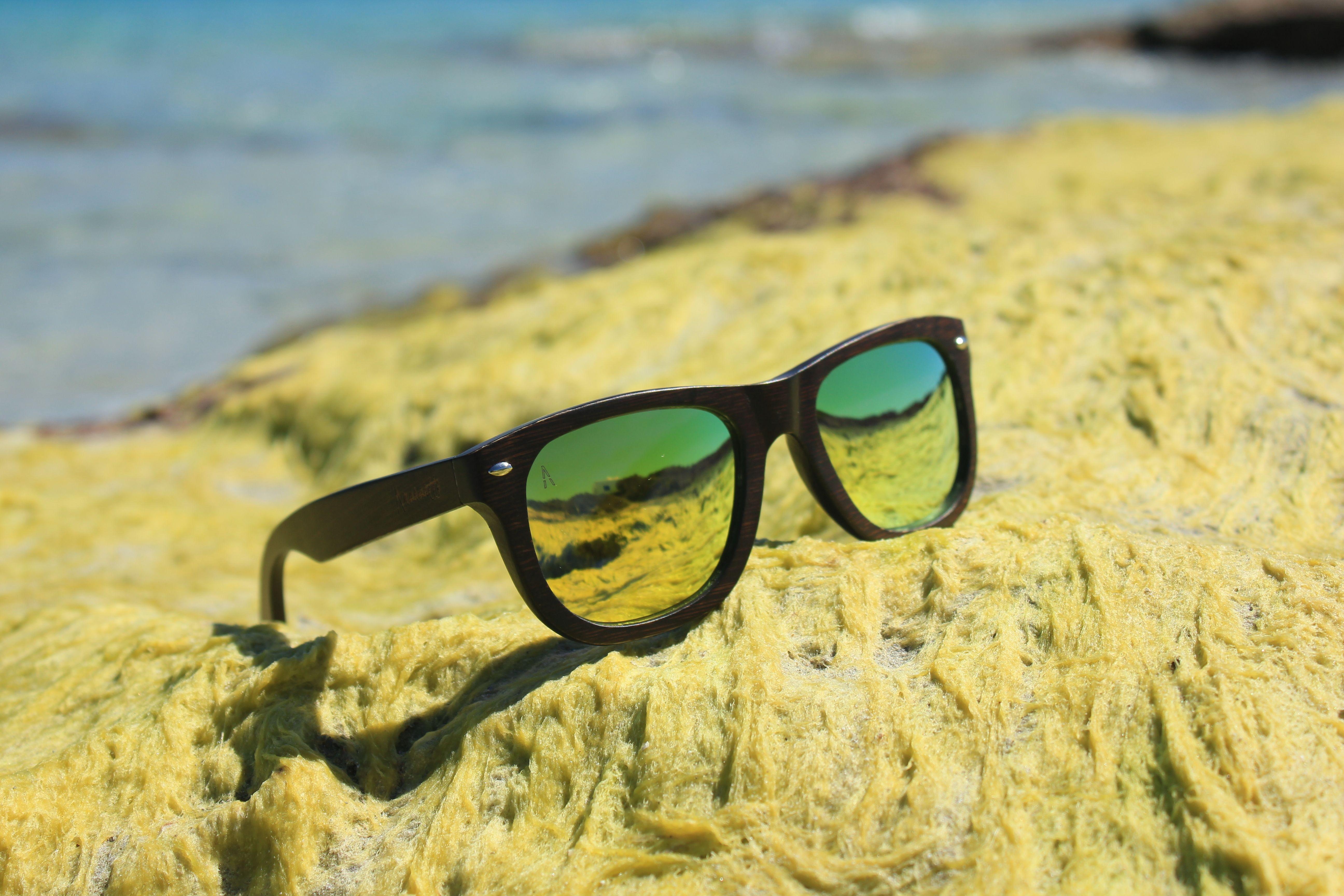K-Lima - Gafas de sol unisex, con montura de madera de Bambú oscura ...