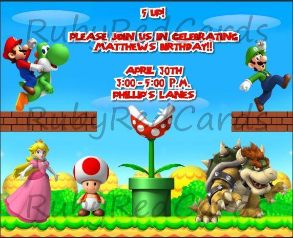 MarioLuigi invitations PARTY luigi party Pinterest Luigi