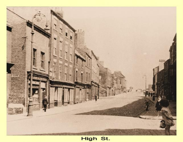 High Street East in the 1930s - Water Lane, one of the many lanes leading down to Low Street can be seen.