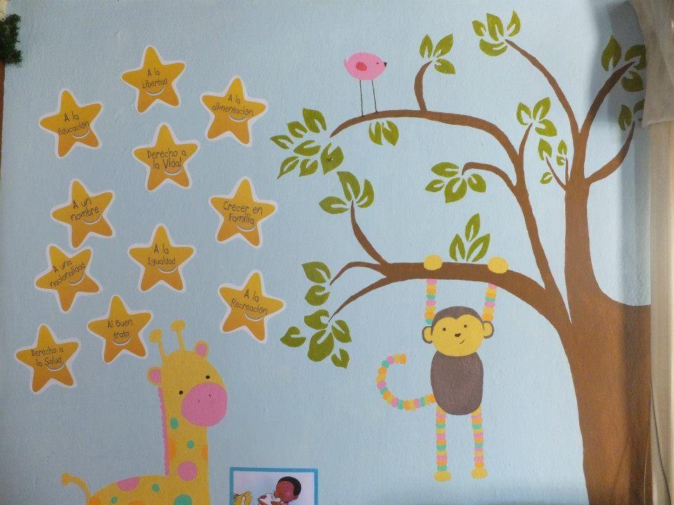 Nuestro mural de derechos del ni os y la ni a nuestra guarder a pinterest murals - Murales para ninos ...