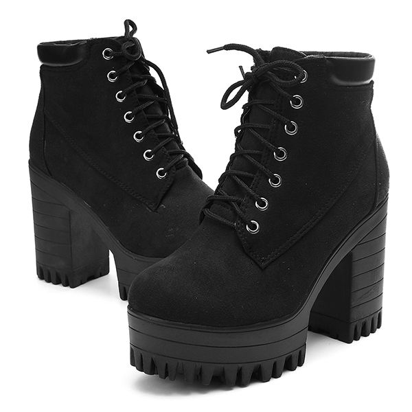 Women High Chunky Heels Platform Lace Up Martin Zipper Ankle Boots ...