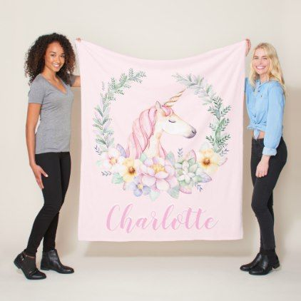 Pink Unicorn  Blanket with  Watercolor Unicorn - watercolor gifts style unique ideas diy