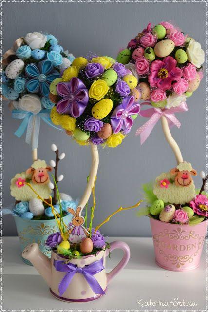 Katerina Sztuka By Pasjonata Art Wiosenne Drzewka Na Wielkanoc 2018 Kanzashi Wiel Easter Crafts Easter Craft Decorations Easter Egg Crafts