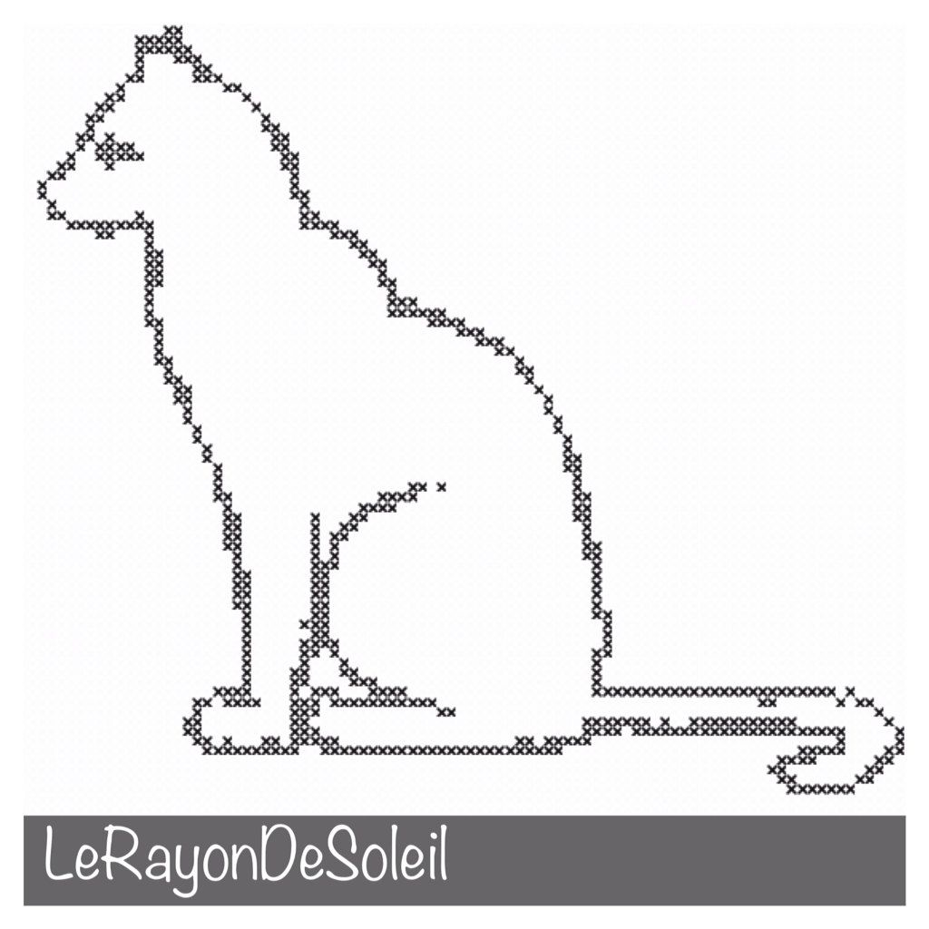 Modern Cross stitch pattern cat silhouette. door LeRayonDeSoleil