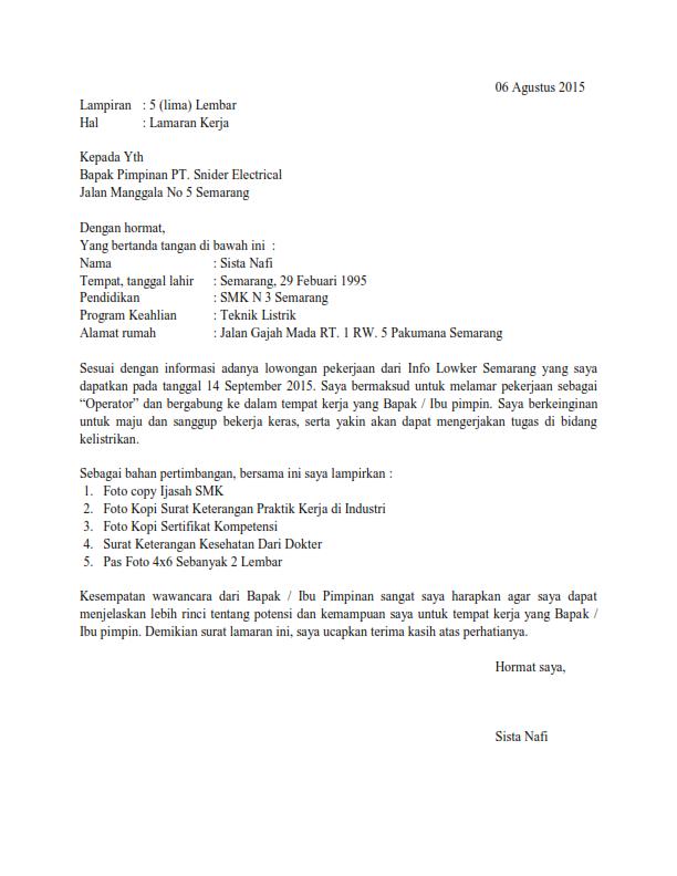 ben jobs: Contoh Surat Lamaran Kerja Operator
