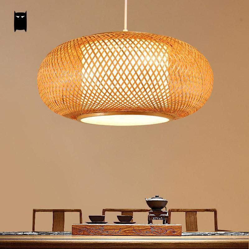 Round Bamboo Wicker Rattan Shade Tatami Pendant Light Fixture Rustic Asian Japan Style Ceiling Lamp Indoor Home Lighting Foyer Dining Room By SoleilchatArt