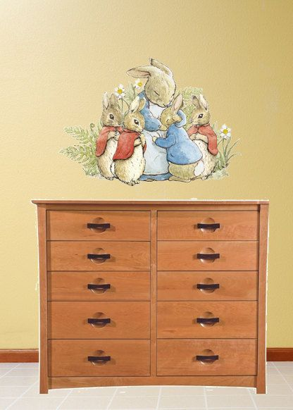 Peter rabbit family hug wall decal peel and stick wall for Beatrix potter wall mural