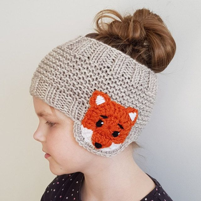 Fox headband, Earwarmer, Head Wrap, Knit Headband, Spring Outfit, Girls Outfit, Spring Accessories, Fox Appliques, Earmufs, Winter Clothing #beanies