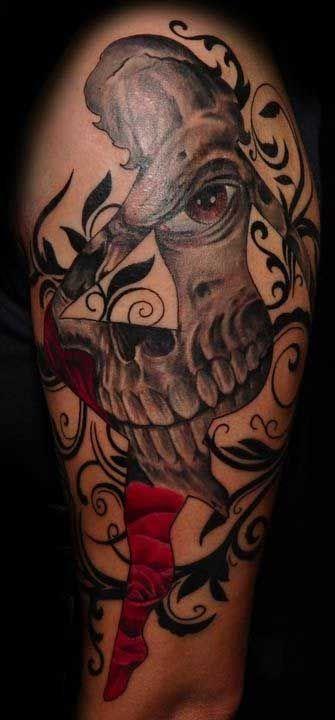 Female silhouette with skull tattoo tattoos pinterest for Female silhouette tattoo
