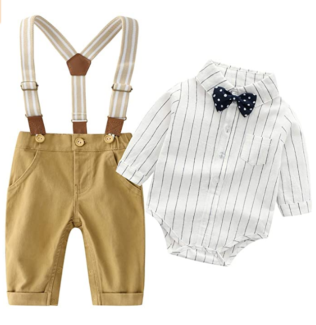 Baby Boys Clothes Gentleman Outfits Suits Infant Long Sleeve Romper+Bib Pants+Bow Tie Clothing Set