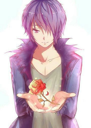 Anike Male Purple Hair Purple Clothes Red Rose Cute Hot Cute Anime Guys Anime Boy Cute Anime Boy